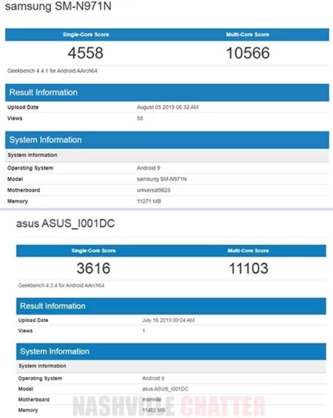 ĐIểm Geekbench của Galaxy Note10 chạy Exynos 9820 (ảnh trên) và Asus ROG Phone 2 chạy Snapdragon 855 (ảnh dưới).
