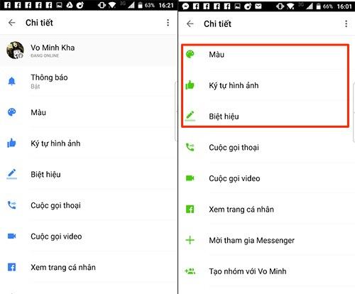 Trên ứng dụng Messenger của iOS và Android, Facebook cho phép người dùng đặt biệt hiệu cho bạn bè cũng như tuỳ biến lại các hội thoại với bạn bè.